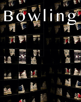 "Rows of bowling shoes with lettering over it that says ""Bowling"" as a poem cover"