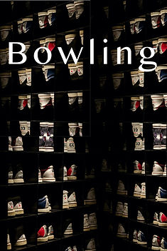 "Rows and rows of bowling shoes on black shelves. Cover title, ""Bowling"" is at the top of this poetry cover."