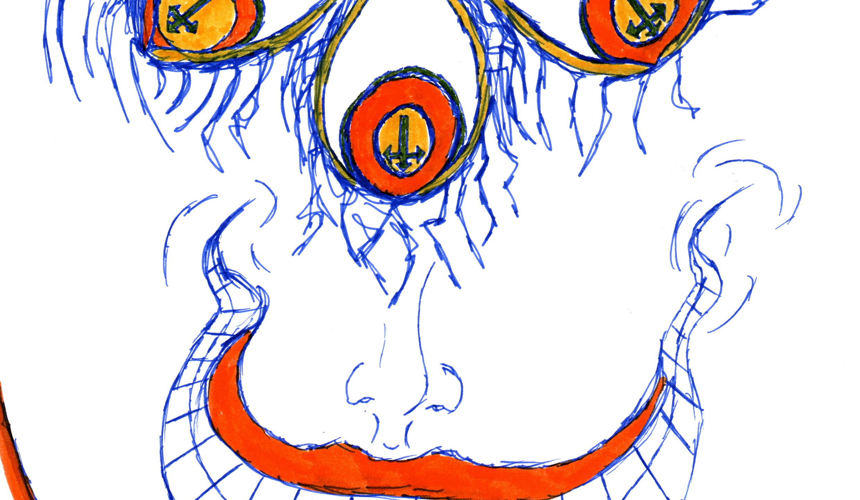 Friday's Tears | Three-Eyed Dizzy | A pen-and-ink modern art sketch called Three-Eyed Dizzy