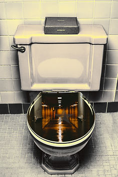 Dingey toilet with darklit hallway in toilet bowl for Privacy Policy