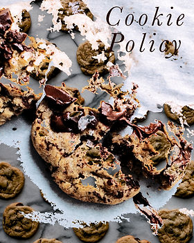 "Gooey, broken chocolate chip cookies with the title caption, ""Cookie Policy""."