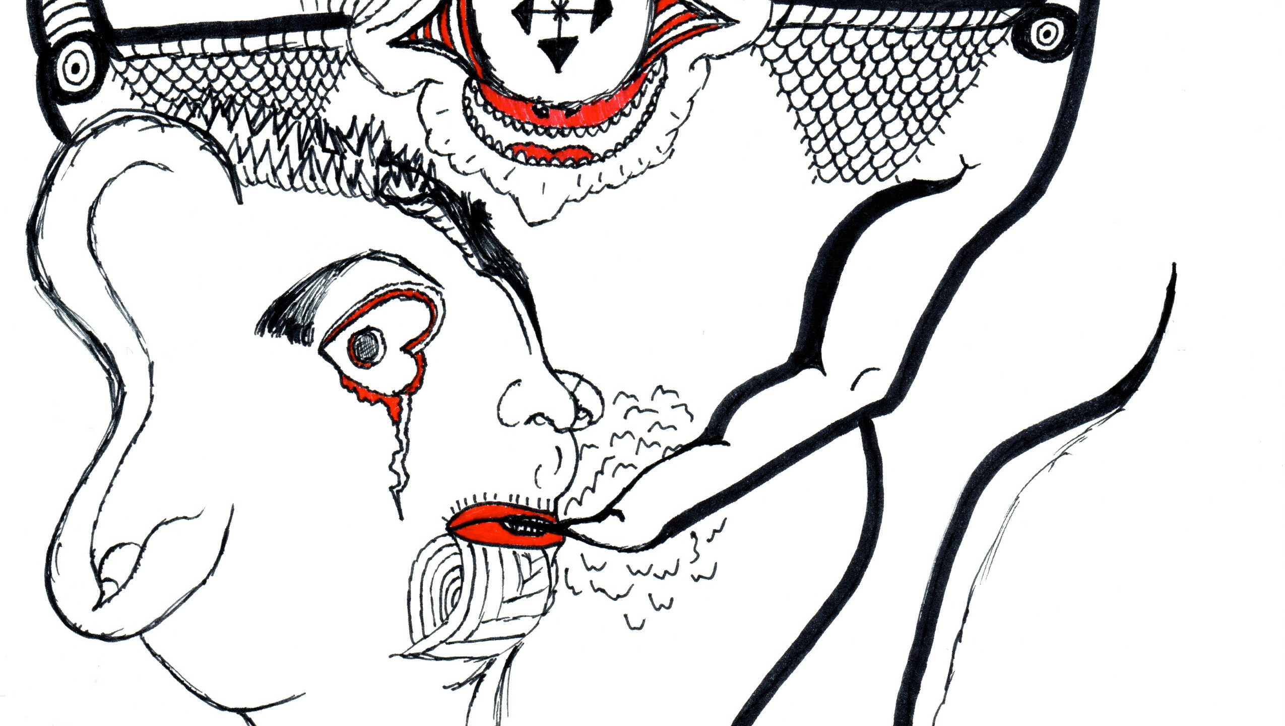 Friday's Tears | Bad Trip | A pen-and-ink modern art sketch called Bad Trip