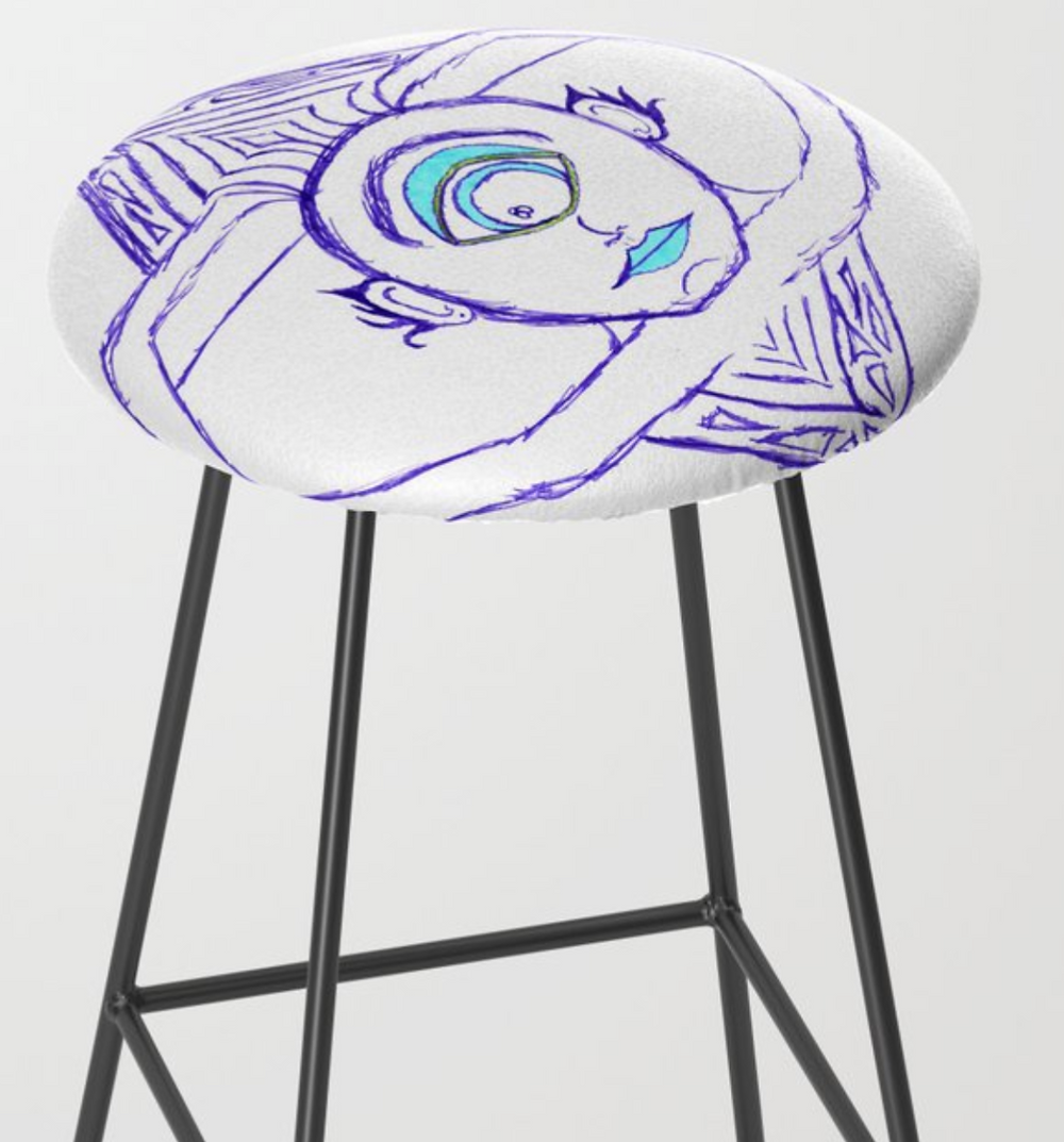 Marmosetic Wolves | Thursday's Scavengings | Preview of purple and blue Cyclops TV Bar Stool from Society6