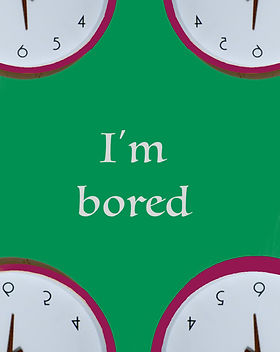 "A clock in each corner with a green background for poem ""I'm Bored"""