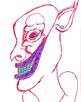"A sketch done in bright pink pen with a large purple and green grin stretching to the ear and a bulging eye. Cover for the surrealist sketch gallery, ""The Pride Museum""."