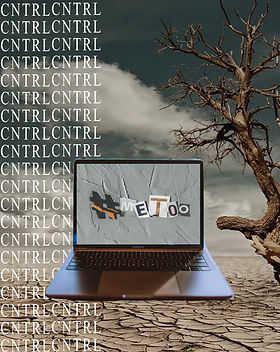 Laptop with a screen that says 'Me Too' in a desert with one side saying 'CNTRL' in several rows