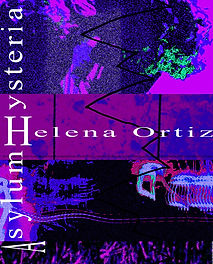 "Purple and blue piece of absract art as poetry collection book cover for ""Asylum Hysteria"""