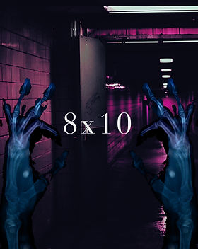 X-rayed hands with their fingers in an 'okay' sign and a bright purple hospital hallway. The horror short story title '8x10' is in the center of the hands, framed by them.