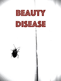 "Large stink bug on white background with red text for poetry collection cover ""Beauty Disease"""