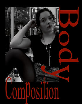 "Artist, Helena Ortiz, posing for the poetry cover, ""Body Composition""."