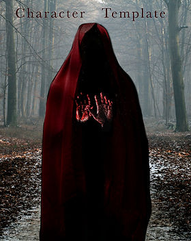 "A hooded red figure in the middle of a ghostly forest, holding up bloody hands. The title ""Character Template"" is at the top of the image of this article on writing."