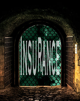 "The poetry cover title ""Insurance"" at the end of an underground tunnel."