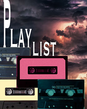 Cassette tapes stacked like steps over a cloudy background with text that says 'Playlist' for a poem cover