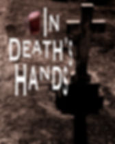 """Large cross headstone in a graveyard with frothy beer for poem """"In Death's Hands"""""""