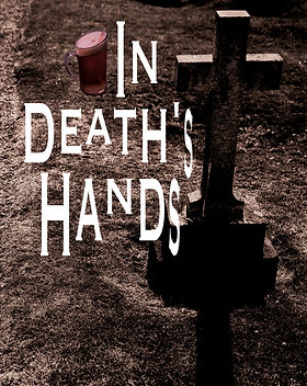 "A pint of beer beside a large gravestone with the poetry cover's title, ""In Death's Hands""."