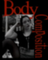 "Helena Ortiz modeling in sitting position for poem cover ""Body Composition"""