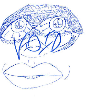A blue sketch with upside-down, crosses for eyes, large lips, and a pig nose. Cover for the gallery of surrealist sketch mistakes, 'Shame In The Void'.