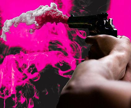 A man shooting pink smoke into pink flames