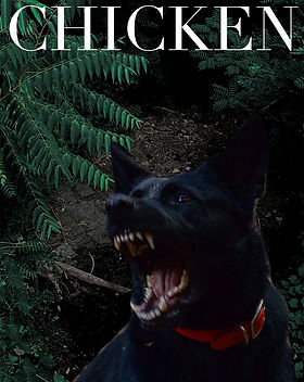 "A black dog snarling and barking in a forest with the horror short story title in caps, ""CHICKEN""."