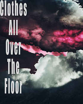 "A large, pink storm cloud between two, large grey clouds and a short story title, ""Clothes All Over The Floor"" in the left of the cover."