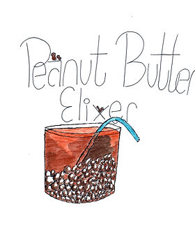 Cartoon of Peanut Butter Elixer, a cocktail, drawn with a blue straw, small ice cubes, and a wide tumbler