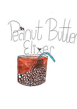 "A cartoon tumbler filled with ice and a drink called, ""Peanut Butter Elixer"" on this article cover for a recipe."