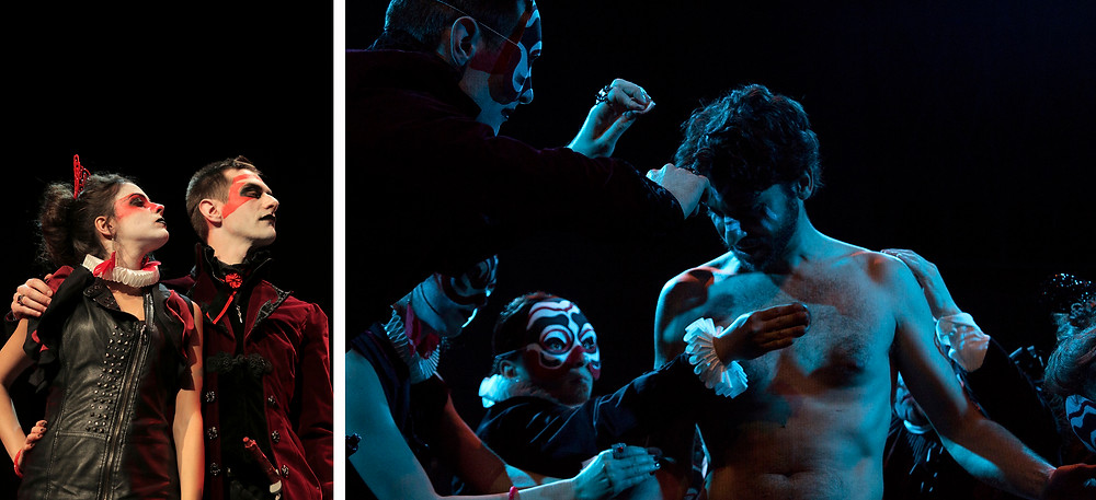 Two Scenes of Queen Lear, Artman English's adaptation of Shakespeare's play King Lear: the evil couple made by Regan and Cornwall; and Edgar's transformation into Poor Tom