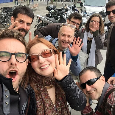 International Artman Engish Ensemble waving their hands from Barcelona, after one of their Engish Through Performance productions