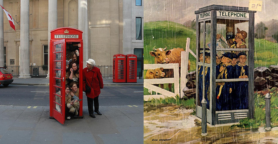 Double Image: students crammed inside a London's red phone booth & cub scouts inside an American booth in the middle of the countryside