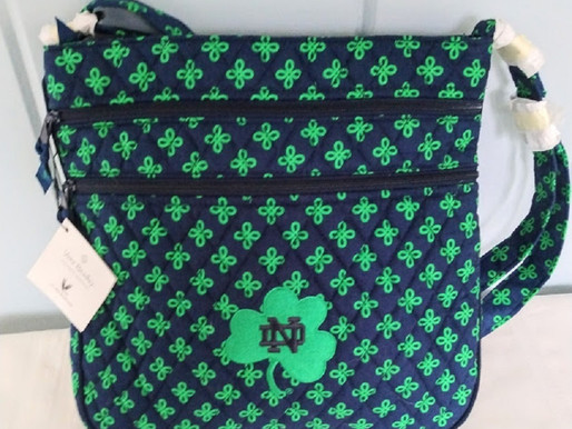 Vera Bradley Notre Dame Triple Zip Crossbody~New