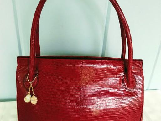 "Darby Scott ""Blair Tote"" Exotic Red Lizard Skin Leather Shoulder Bag"