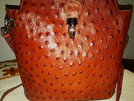 Vera Pelle Ostrich Embossed Leather Crossbody
