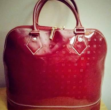 Arcadia Burgundy Patent Leather Domed Satchel