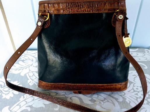 Brahmin Vintage Leather Croc. Shoulder Bag