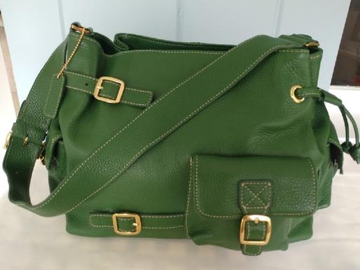 Maxx NY Pebbled Green Leather Satchel