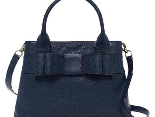 """Kate Spade """"Charm City"""" Ostrich Embossed Navy Leather Satchel"""