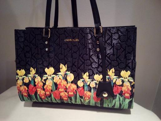 Calvin Klein Painted Flowers Shoulder Purse ~ New