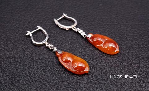 Red Jade Bean Ear Ring.jpg