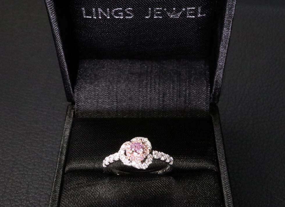 Flower shape Purple Pink Diamond ring 10