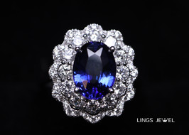 flower style grand sapphire ring 0820 b.