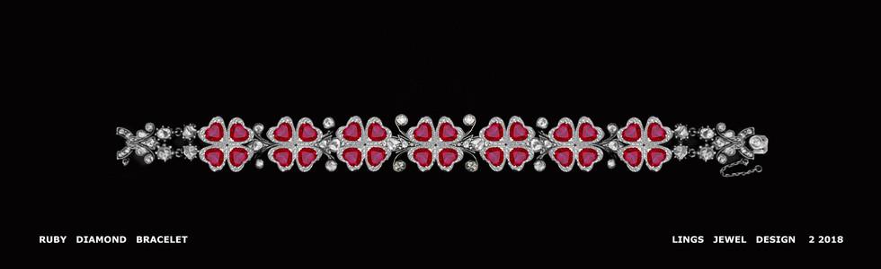 Ruby Clover Diamond Bracelet layout one.