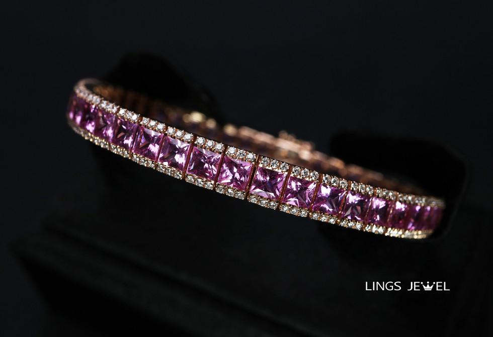 14 carat Pink Sappphire rose gold bracel