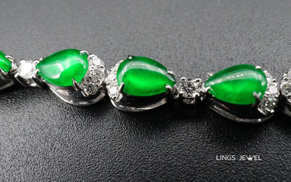 Pear shape rare Emperor jade bracelet 2.