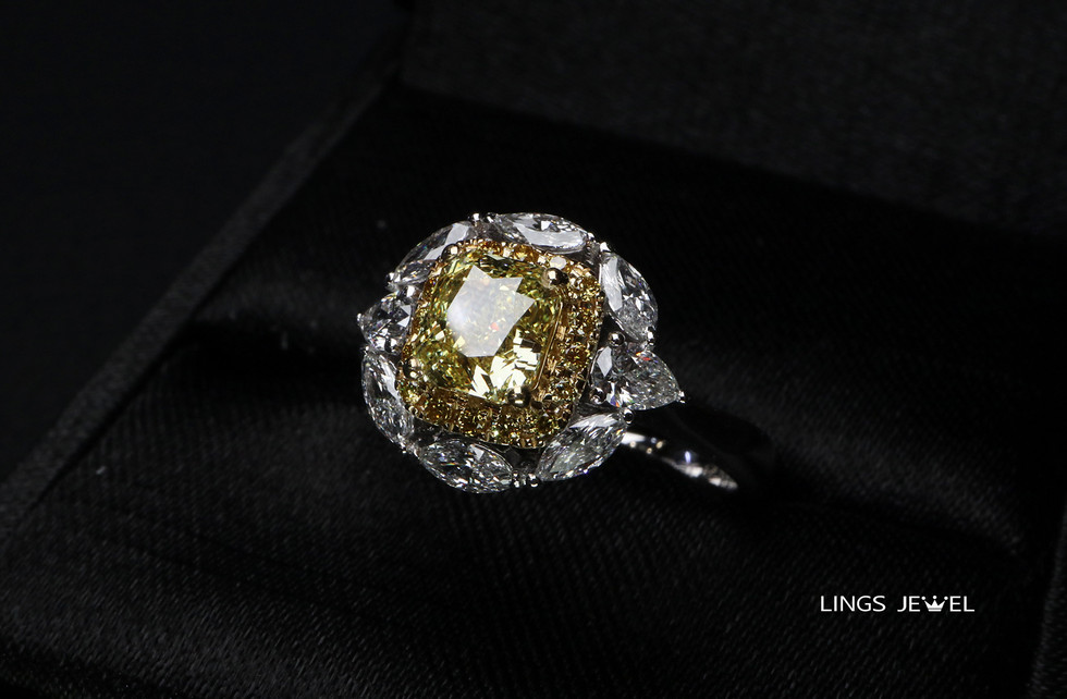 1 carat cushuion Yellow Diamond rind 062