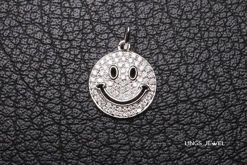 Smile face diamond pendent