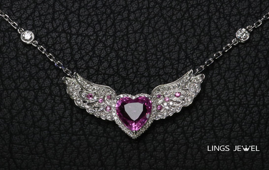 2 carat Pink Sapphire heart wing pendent