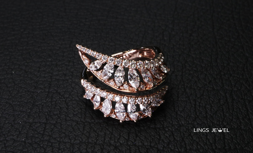 Spiral Shape Marquise Diamond Ring Rose