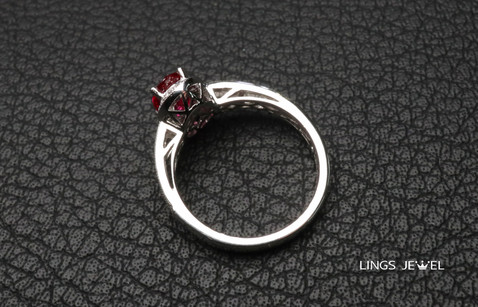 Non Heated High Grade Color Ruby Ring wi