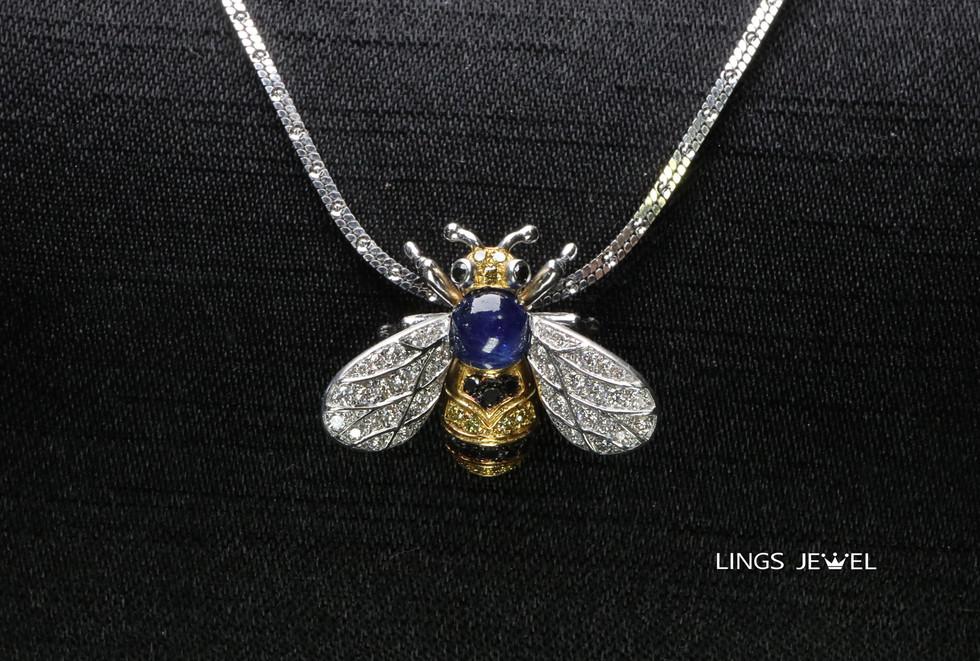 Sapphire yellow diamond bee pendent 2.jp