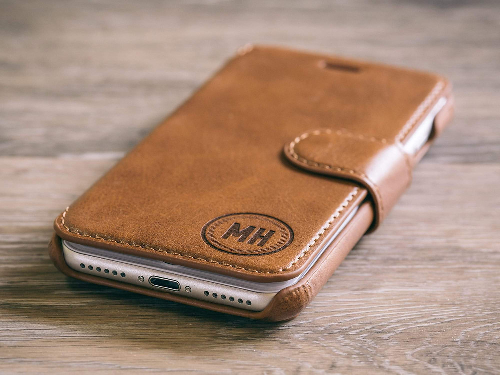 Personalized Brown leather iPhone case